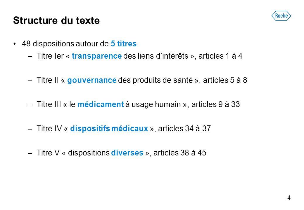 Structure du texte 48 dispositions autour de 5 titres –Titre Ier « transparence des liens dintérêts », articles 1 à 4 –Titre II « gouvernance des prod