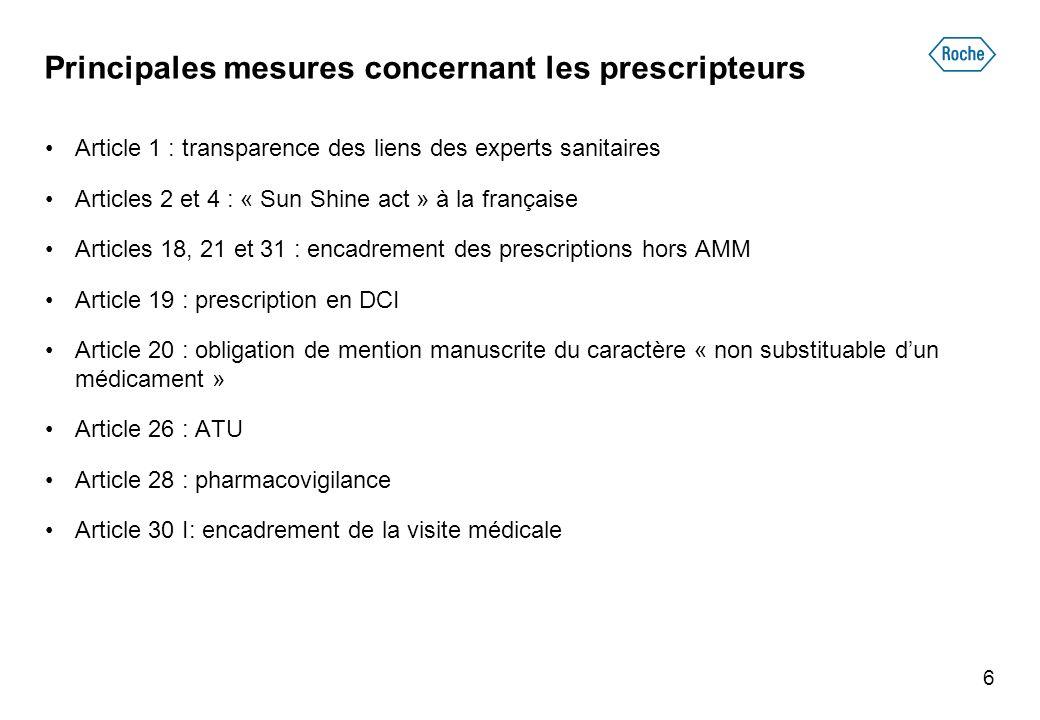 Principales mesures concernant les prescripteurs Article 1 : transparence des liens des experts sanitaires Articles 2 et 4 : « Sun Shine act » à la fr