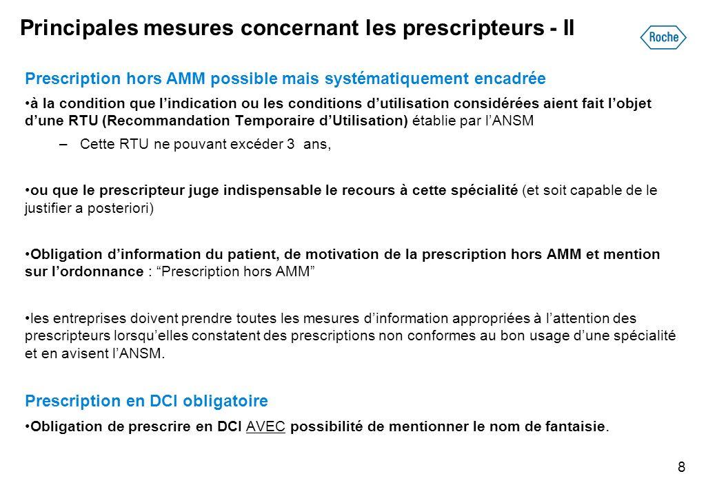 Principales mesures concernant les prescripteurs - II Prescription hors AMM possible mais systématiquement encadrée à la condition que lindication ou