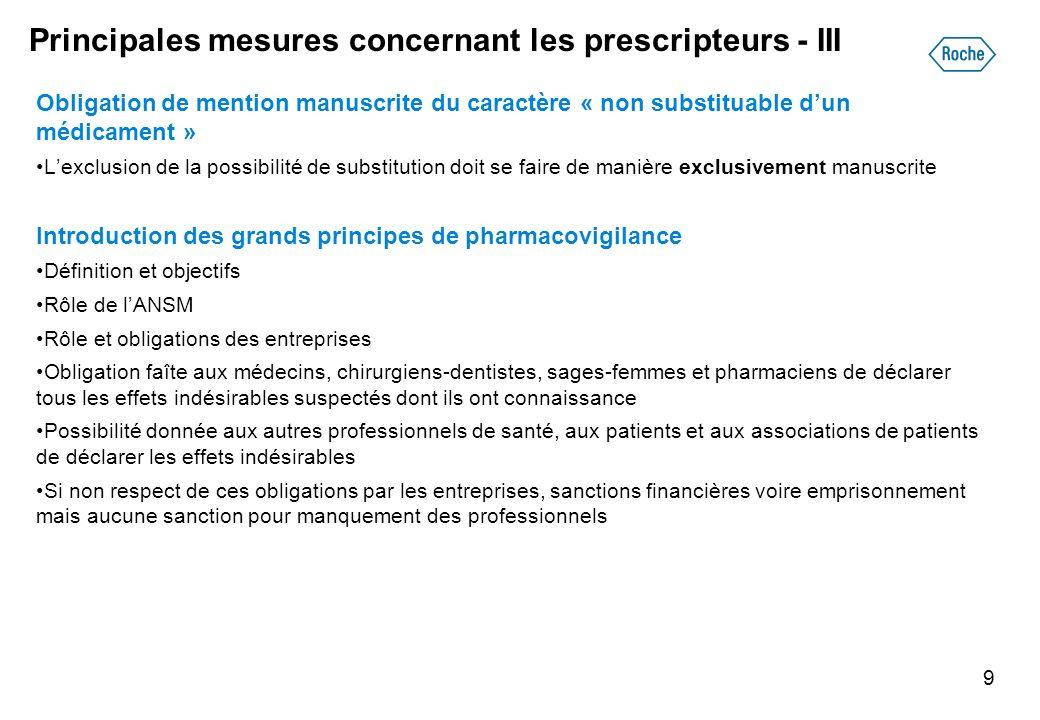 Principales mesures concernant les prescripteurs - III Obligation de mention manuscrite du caractère « non substituable dun médicament » Lexclusion de