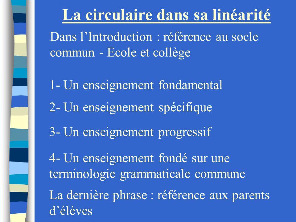 La circulaire dans sa linéarité Dans lIntroduction : référence au socle commun - Ecole et collège 1- Un enseignement fondamental 2- Un enseignement sp