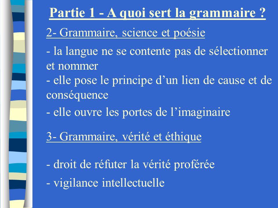 Partie 1 - A quoi sert la grammaire ? 2- Grammaire, science et poésie - la langue ne se contente pas de sélectionner et nommer - elle ouvre les portes