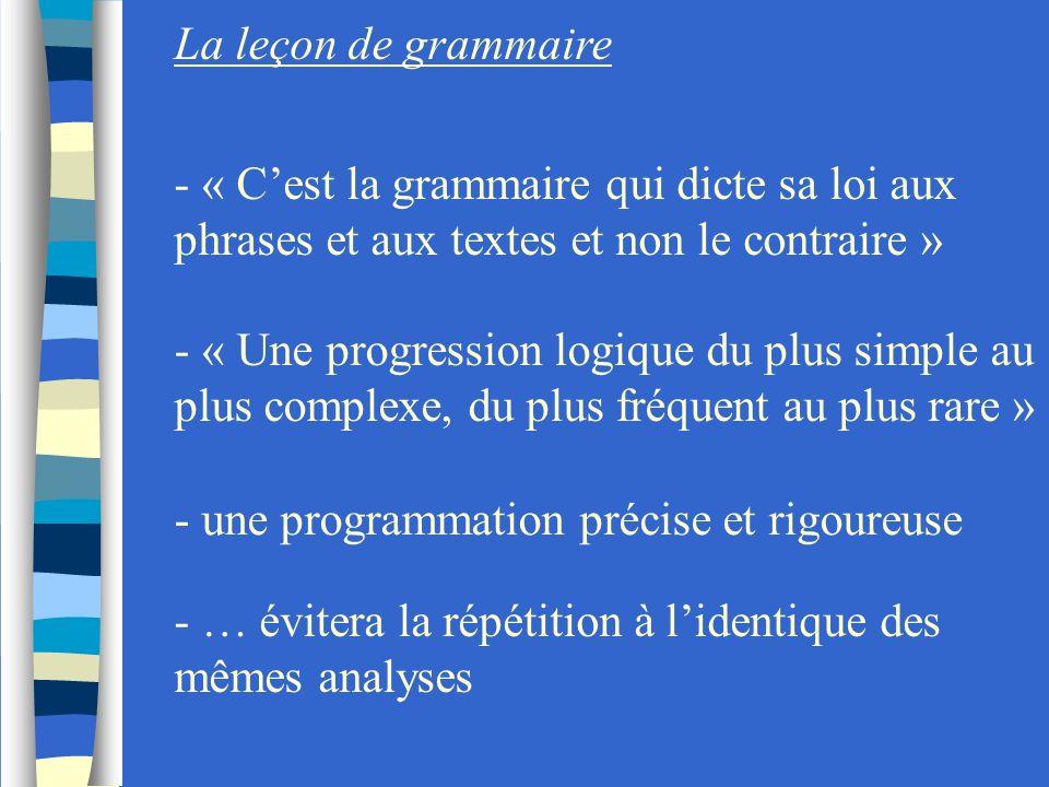 La leçon de grammaire - « Cest la grammaire qui dicte sa loi aux phrases et aux textes et non le contraire » - « Une progression logique du plus simpl