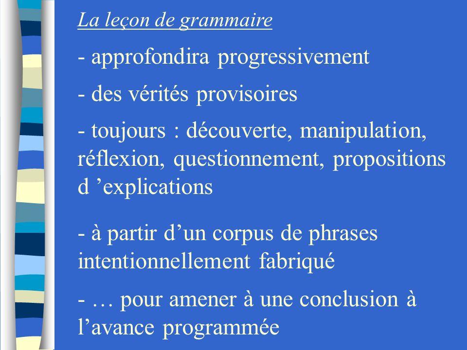 La leçon de grammaire - approfondira progressivement - des vérités provisoires - toujours : découverte, manipulation, réflexion, questionnement, propo