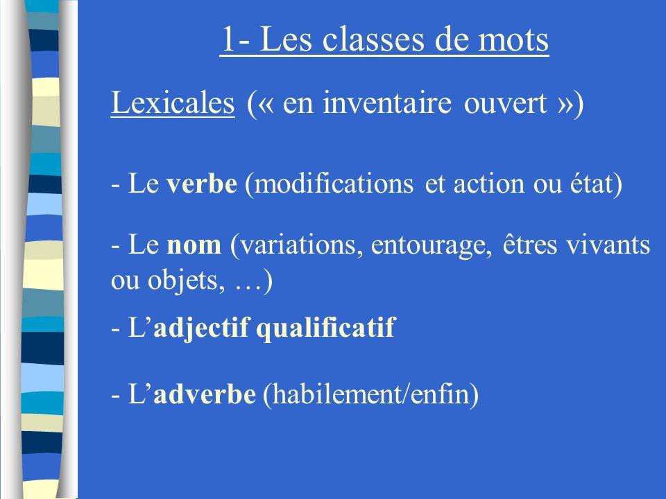 1- Les classes de mots Lexicales (« en inventaire ouvert ») - Le verbe (modifications et action ou état) - Le nom (variations, entourage, êtres vivant