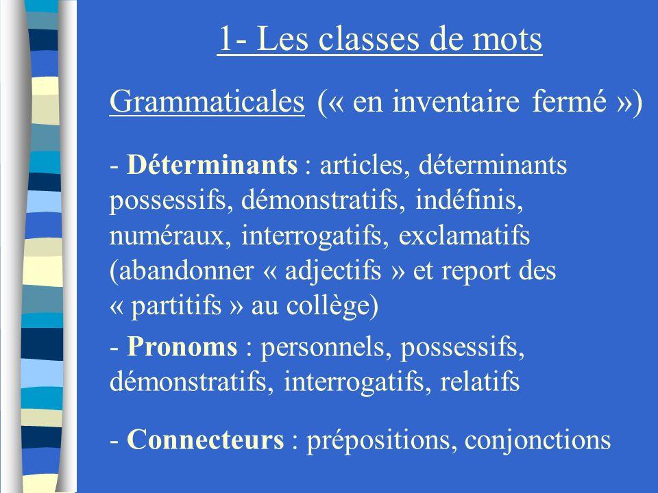 1- Les classes de mots Grammaticales (« en inventaire fermé ») - Déterminants : articles, déterminants possessifs, démonstratifs, indéfinis, numéraux,