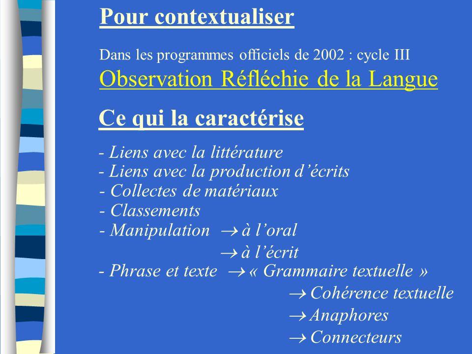 Ce qui la caractérise - Liens avec la littérature Pour contextualiser Dans les programmes officiels de 2002 : cycle III Observation Réfléchie de la La