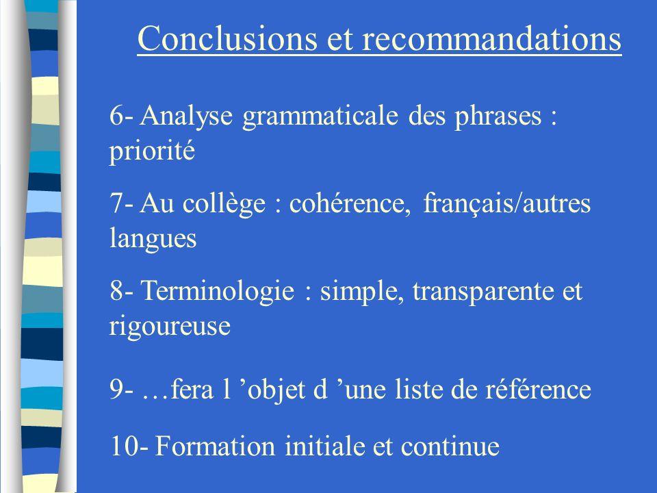 Conclusions et recommandations 6- Analyse grammaticale des phrases : priorité 7- Au collège : cohérence, français/autres langues 8- Terminologie : sim