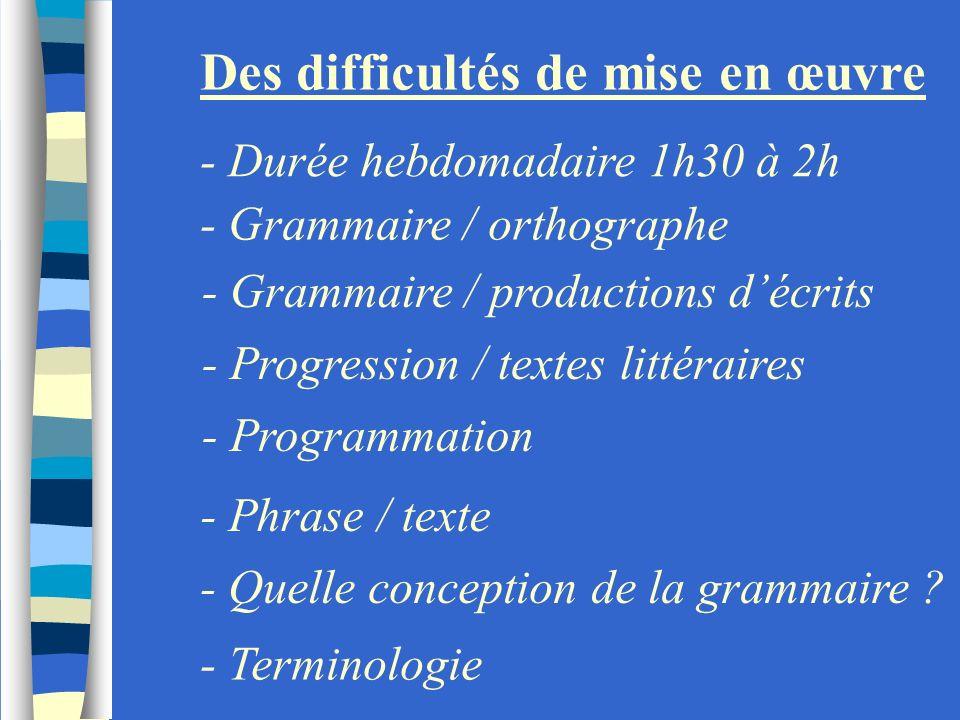 Des difficultés de mise en œuvre - Durée hebdomadaire 1h30 à 2h - Grammaire / orthographe - Grammaire / productions décrits - Progression / textes lit