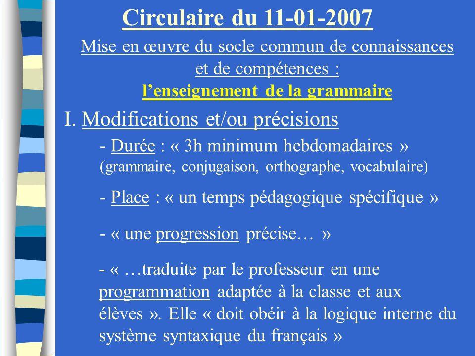 Circulaire du 11-01-2007 Mise en œuvre du socle commun de connaissances et de compétences : lenseignement de la grammaire I. Modifications et/ou préci