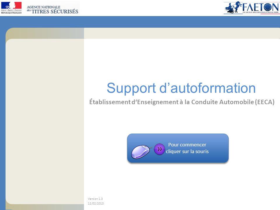 Support dautoformation Établissement dEnseignement à la Conduite Automobile (EECA) Version 1.3 12/02/2013 Pour commencer cliquer sur la souris Pour co