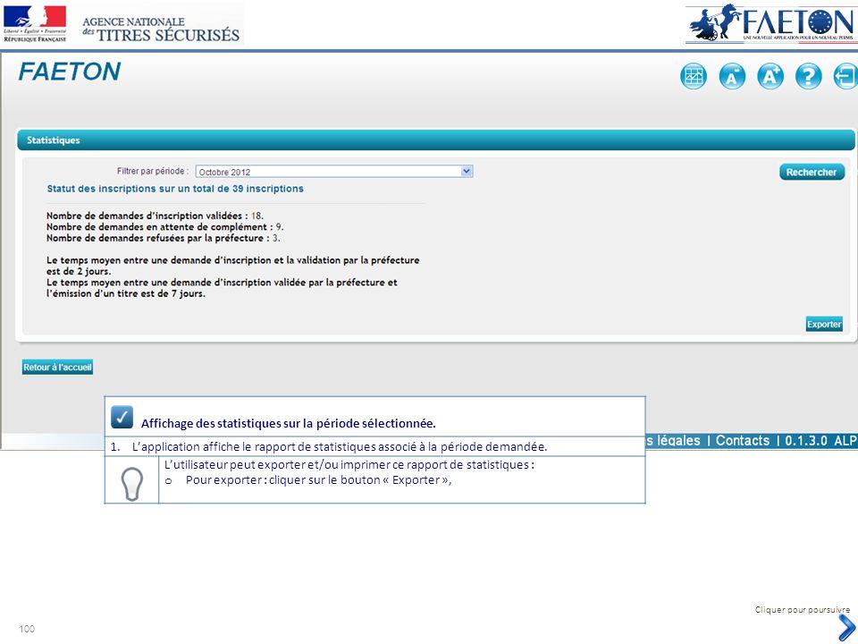 Affichage des statistiques sur la période sélectionnée. 1.Lapplication affiche le rapport de statistiques associé à la période demandée. Lutilisateur
