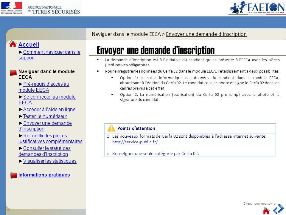 Accueil Comment naviguer dans le supportComment naviguer dans le support Naviguer dans le module EECA Pré-requis daccès au module EECAPré-requis daccè