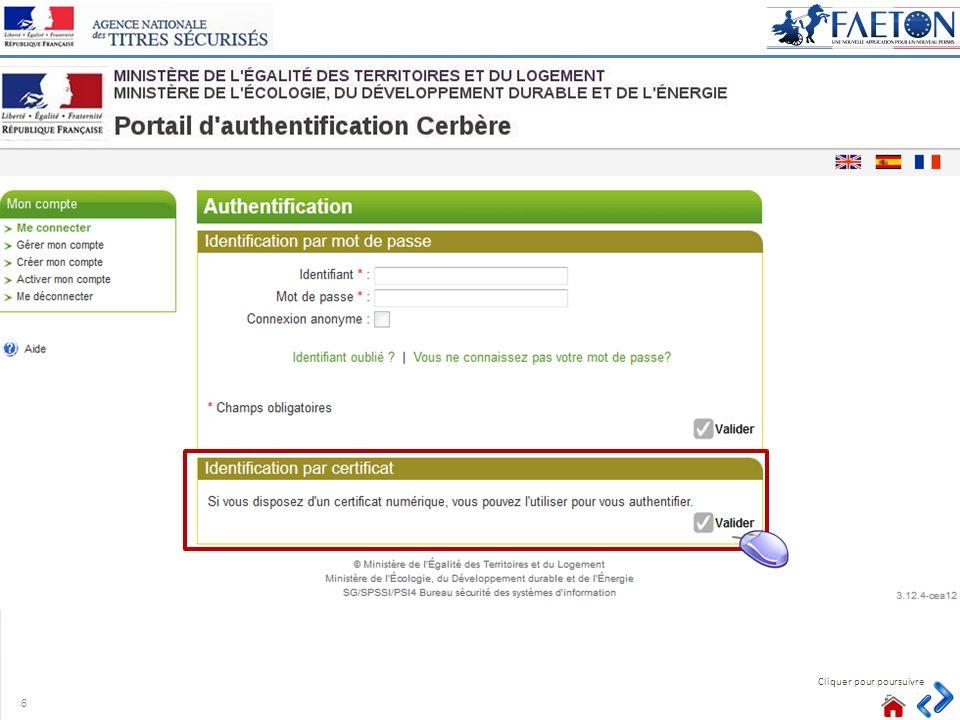 Cliquer pour poursuivre Point dattention o Lutilisateur peut modifier le formulaire et saisir les données manquantes.