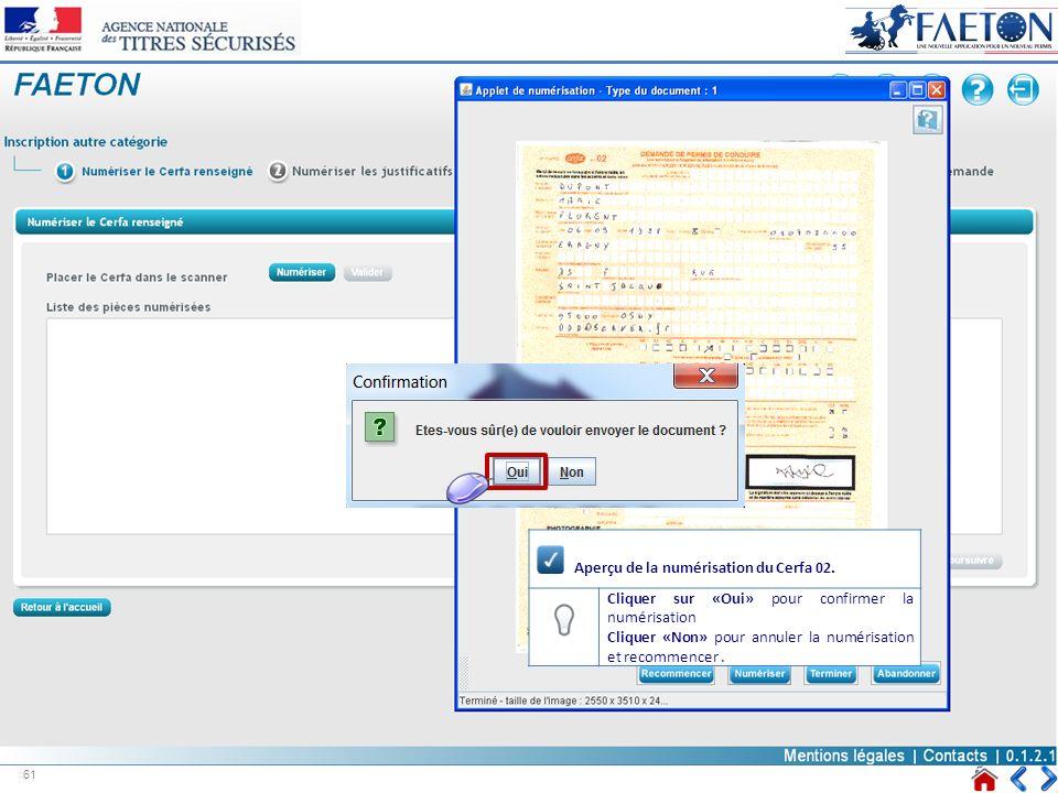 Aperçu de la numérisation du Cerfa 02. Cliquer sur «Oui» pour confirmer la numérisation Cliquer «Non» pour annuler la numérisation et recommencer. 61
