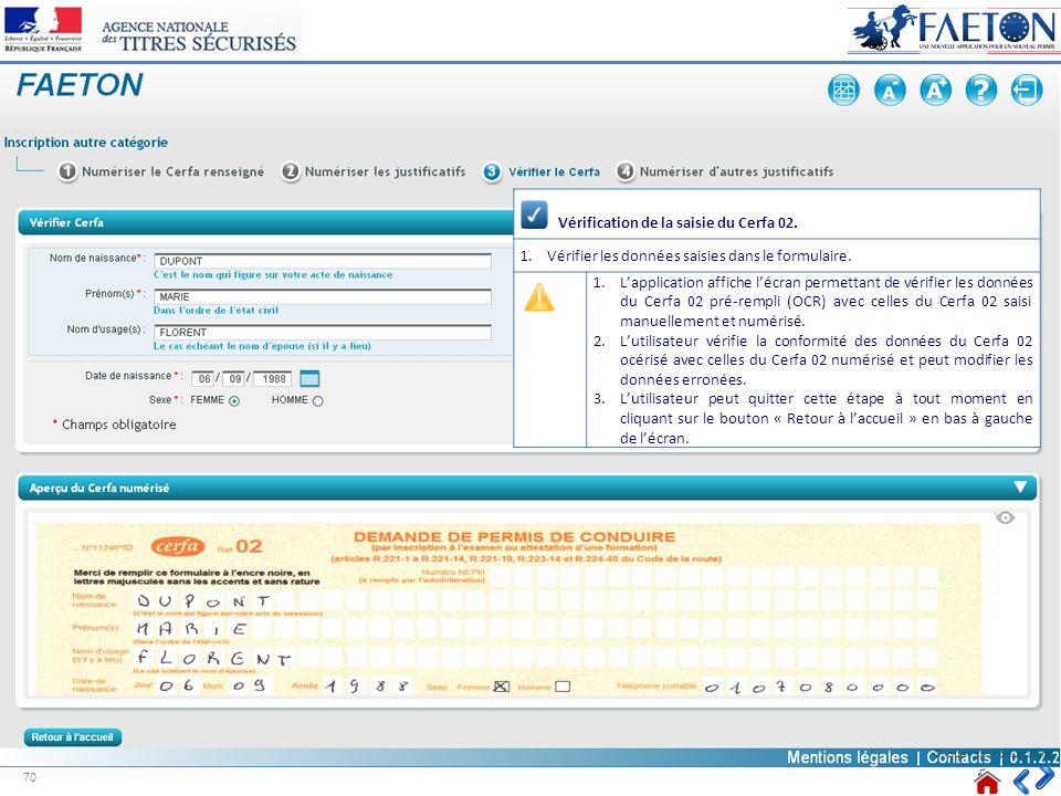 Vérification de la saisie du Cerfa 02. 1.Vérifier les données saisies dans le formulaire. 1.Lapplication affiche lécran permettant de vérifier les don