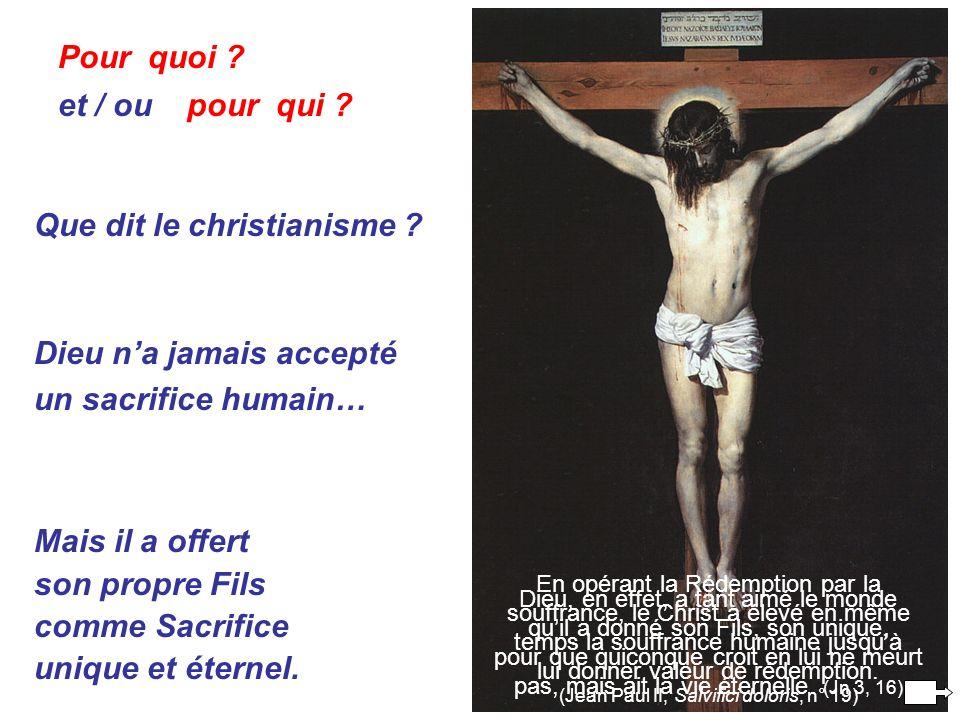 Pour quoi . et / ou pour qui . Que dit le christianisme .