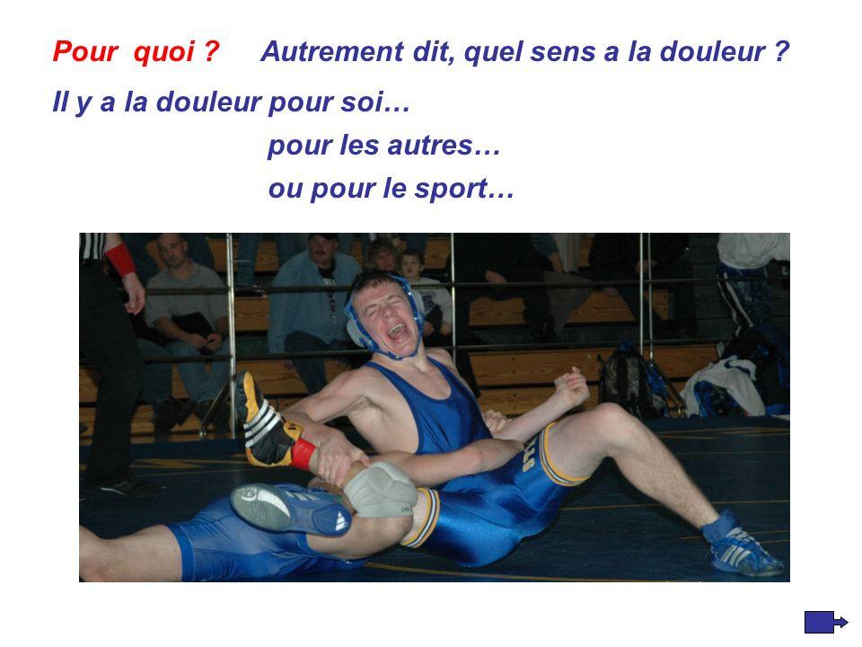 ou pour le sport… Pour quoi Autrement dit, quel sens a la douleur .