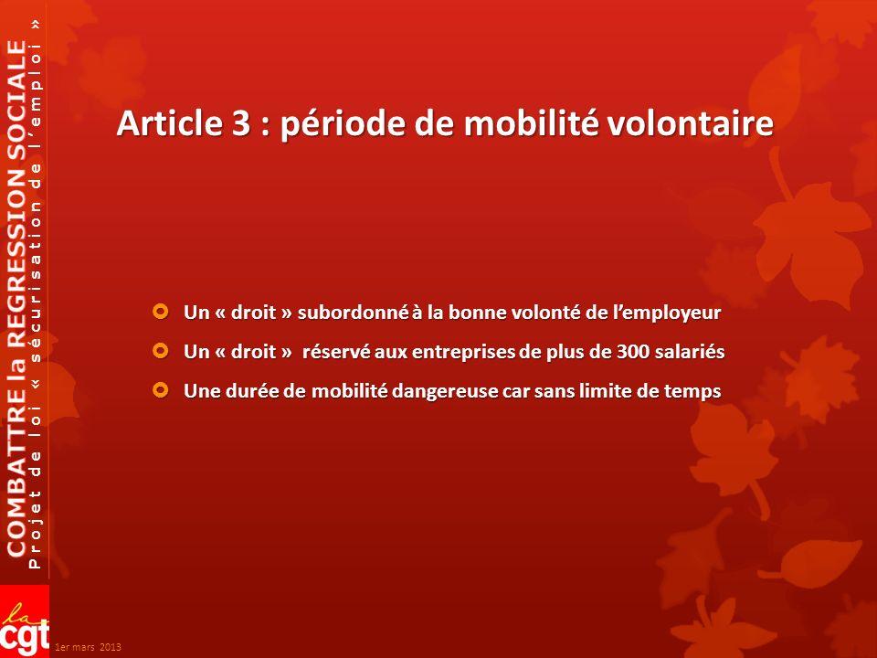 Projet de loi « sécurisation de lemploi » Article 13 Effets / objectifs Empêcher linformation des salariés Empêcher linformation des salariés Empêcher la mobilisation des salariés Empêcher la mobilisation des salariés Empêcher le CE démettre des propositions alternatives Empêcher le CE démettre des propositions alternatives Éviter le juge Éviter le juge Mettre fin à la nullité des licenciements pour insuffisance du PSE Mettre fin à la nullité des licenciements pour insuffisance du PSE suite 1er mars 2013