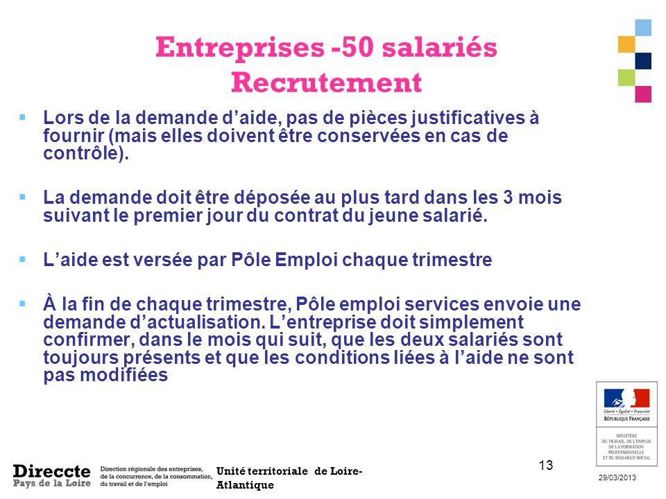 Unité territoriale de Loire- Atlantique 29/03/2013 13 Entreprises -50 salariés Recrutement Lors de la demande daide, pas de pièces justificatives à fo
