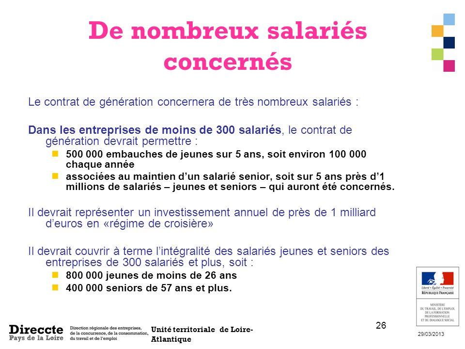 Unité territoriale de Loire- Atlantique 29/03/2013 26 De nombreux salariés concernés Le contrat de génération concernera de très nombreux salariés : D