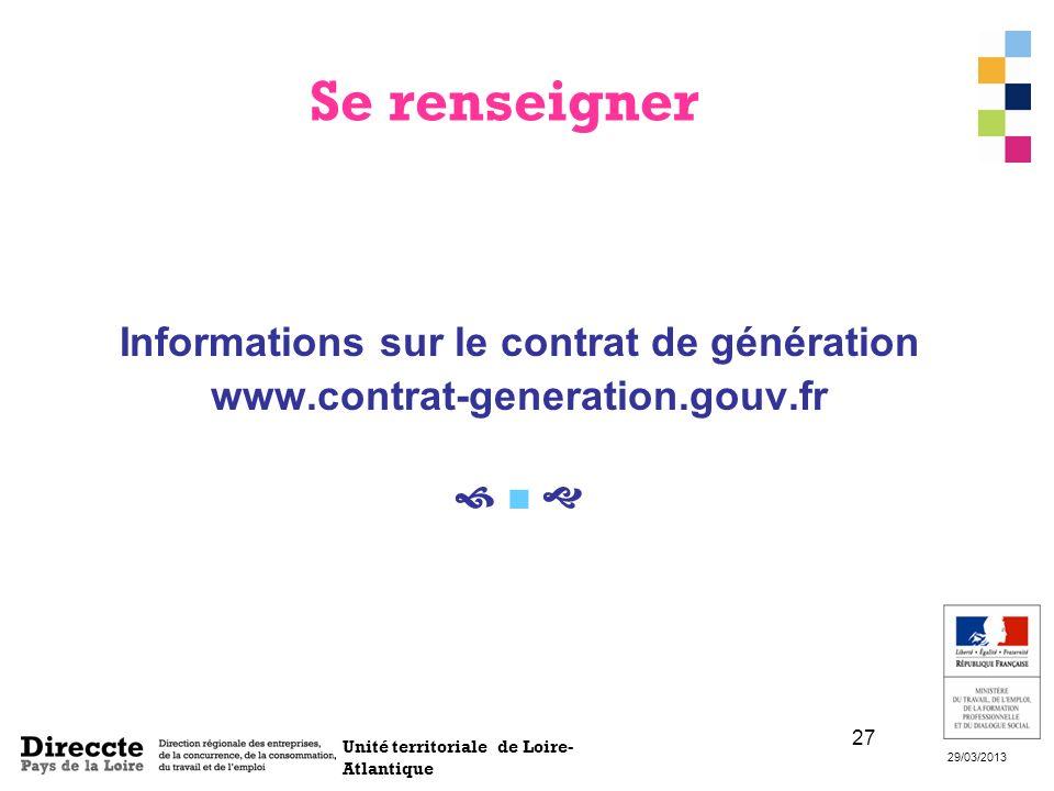 Unité territoriale de Loire- Atlantique 29/03/2013 27 Se renseigner Informations sur le contrat de génération www.contrat-generation.gouv.fr