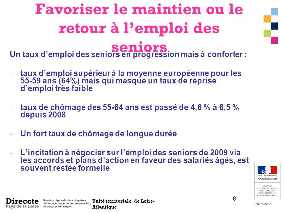 Unité territoriale de Loire- Atlantique 29/03/2013 6 Favoriser le maintien ou le retour à lemploi des seniors Un taux demploi des seniors en progressi