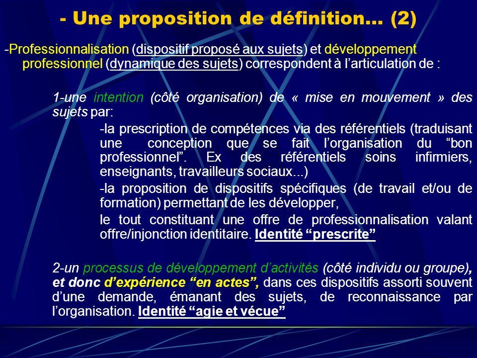 - Une proposition de définition… (2) -Professionnalisation (dispositif proposé aux sujets) et développement professionnel (dynamique des sujets) corre