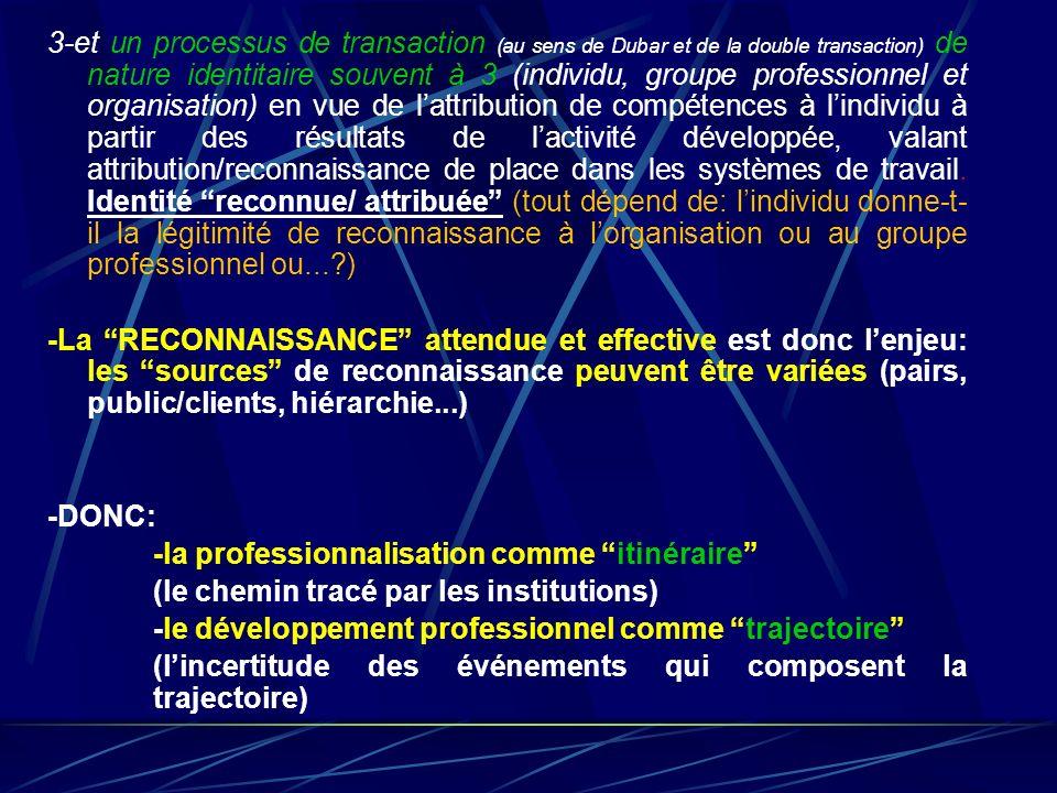 3-et un processus de transaction (au sens de Dubar et de la double transaction) de nature identitaire souvent à 3 (individu, groupe professionnel et o
