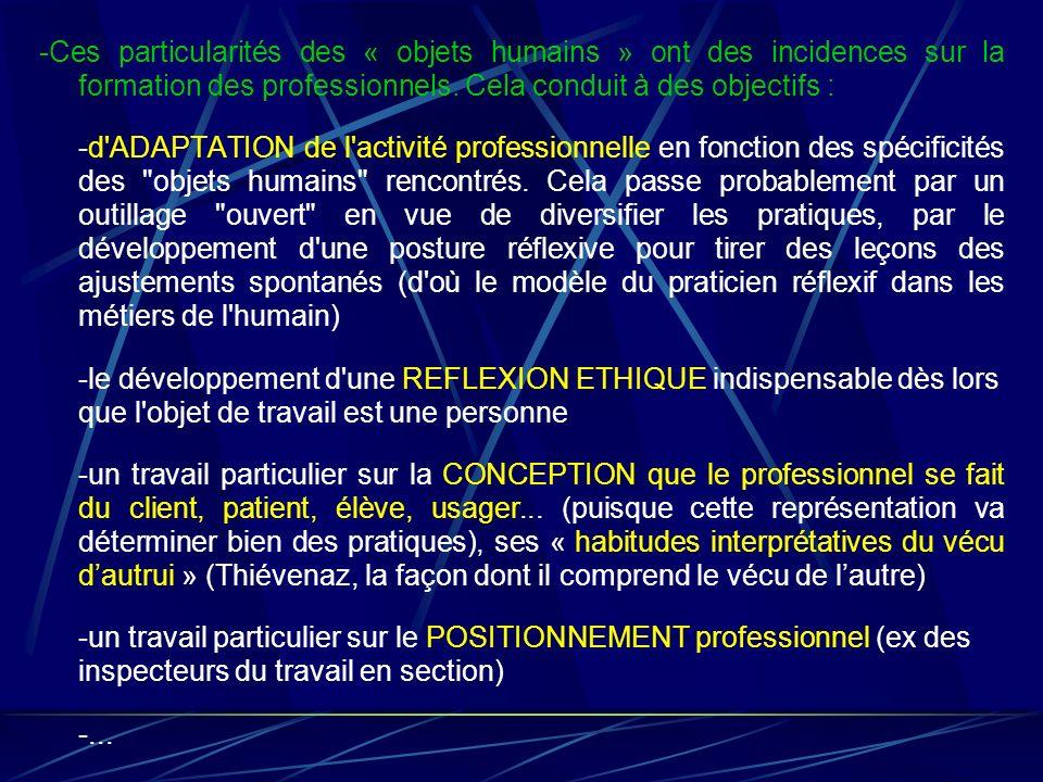 -Ces particularités des « objets humains » ont des incidences sur la formation des professionnels. Cela conduit à des objectifs : -d'ADAPTATION de l'a