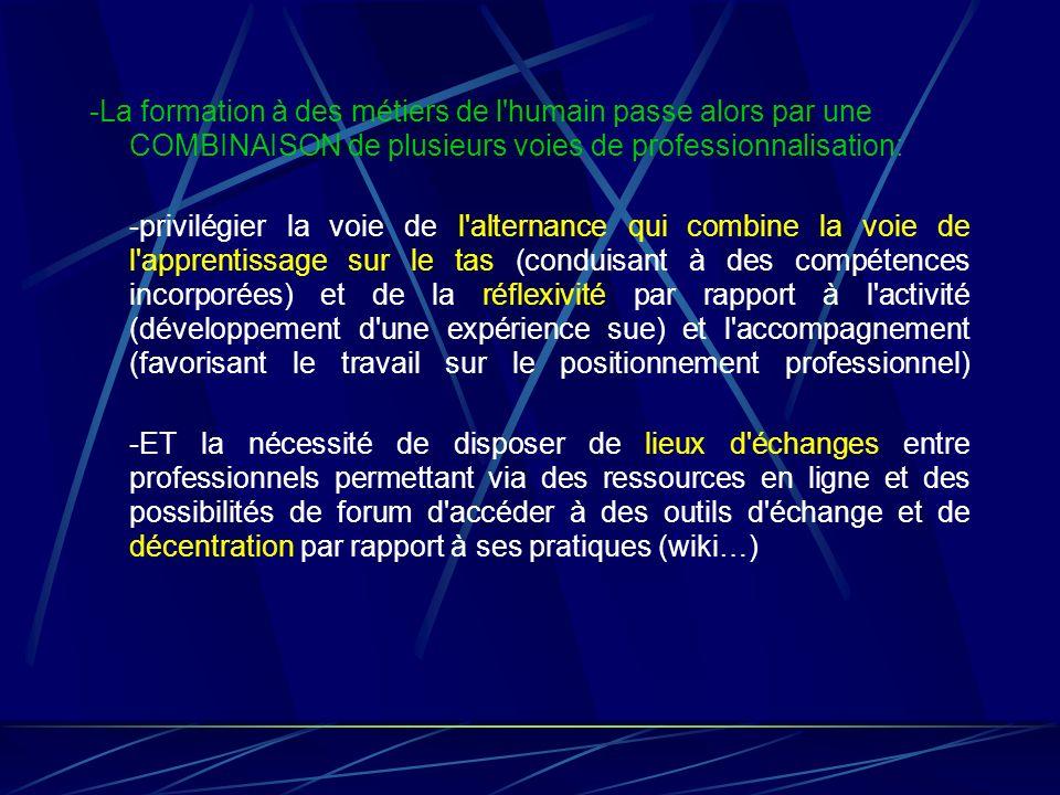 -La formation à des métiers de l'humain passe alors par une COMBINAISON de plusieurs voies de professionnalisation: -privilégier la voie de l'alternan