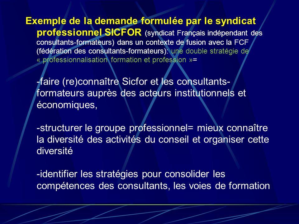 Exemple de la demande formulée par le syndicat professionnel SICFOR (syndicat Français indépendant des consultants-formateurs) dans un contexte de fus