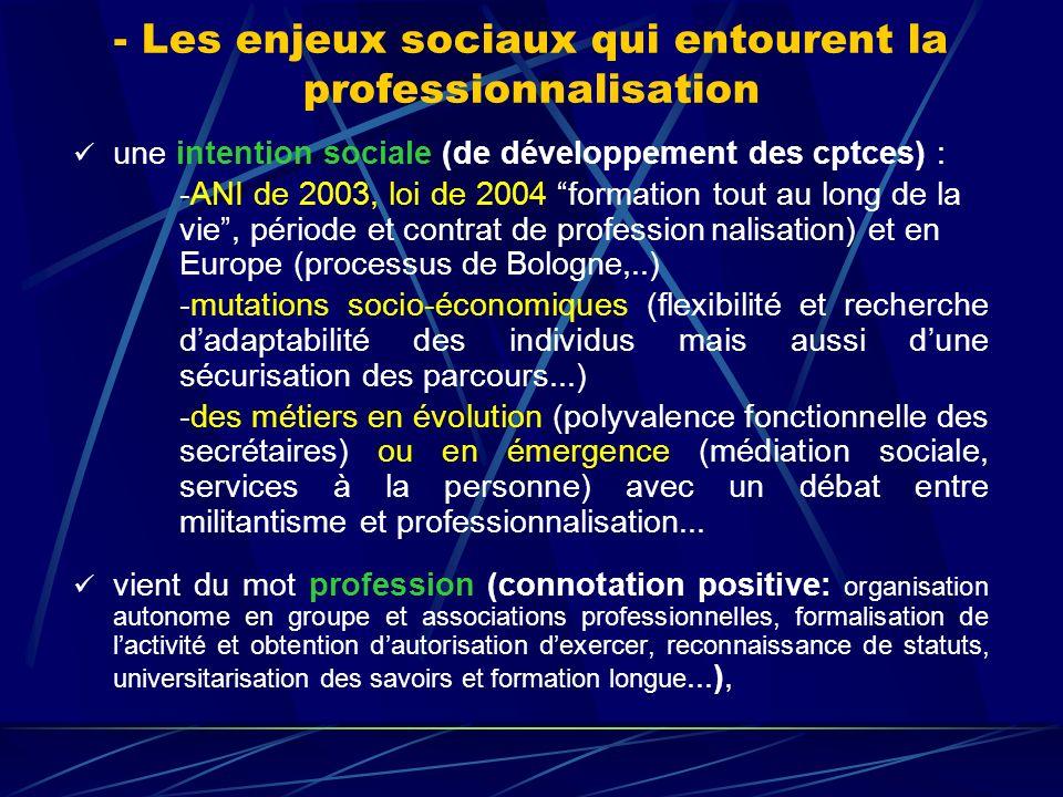 - Les enjeux sociaux qui entourent la professionnalisation une intention sociale (de développement des cptces) : -ANI de 2003, loi de 2004 formation t