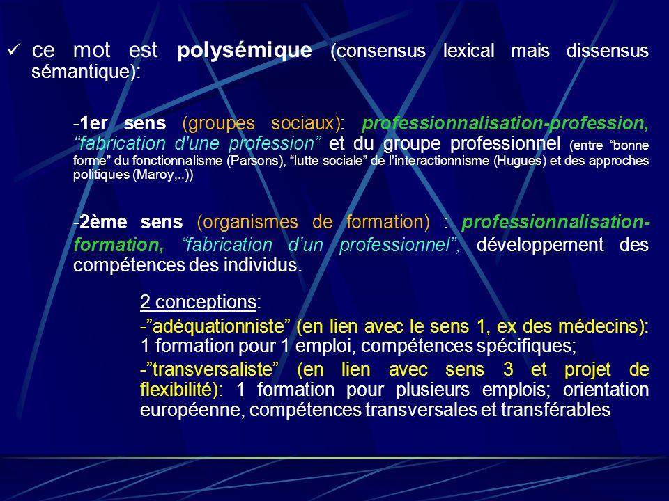 ce mot est polysémique (consensus lexical mais dissensus sémantique): -1er sens (groupes sociaux): professionnalisation-profession, fabrication d'une