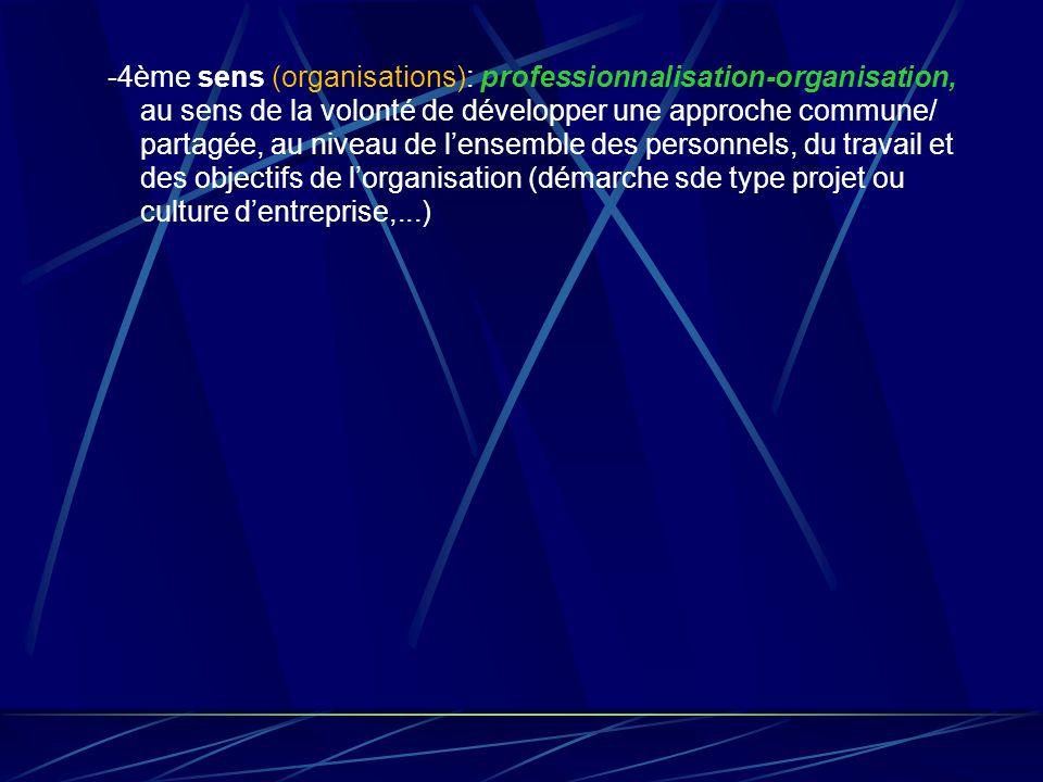 -4ème sens (organisations): professionnalisation-organisation, au sens de la volonté de développer une approche commune/ partagée, au niveau de lensem