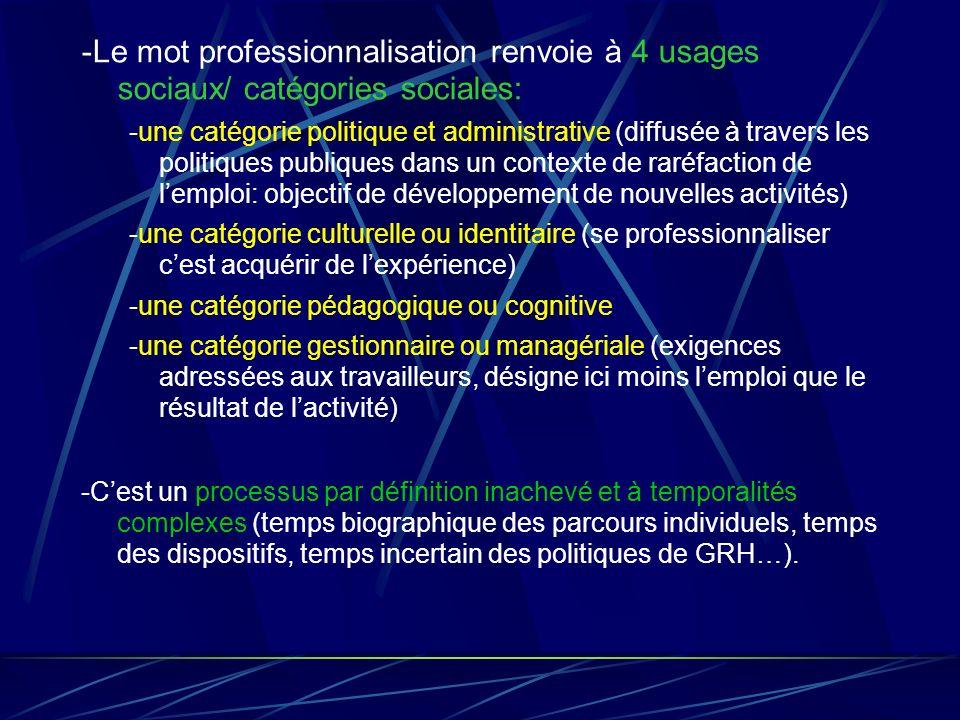 -Le mot professionnalisation renvoie à 4 usages sociaux/ catégories sociales: -une catégorie politique et administrative (diffusée à travers les polit
