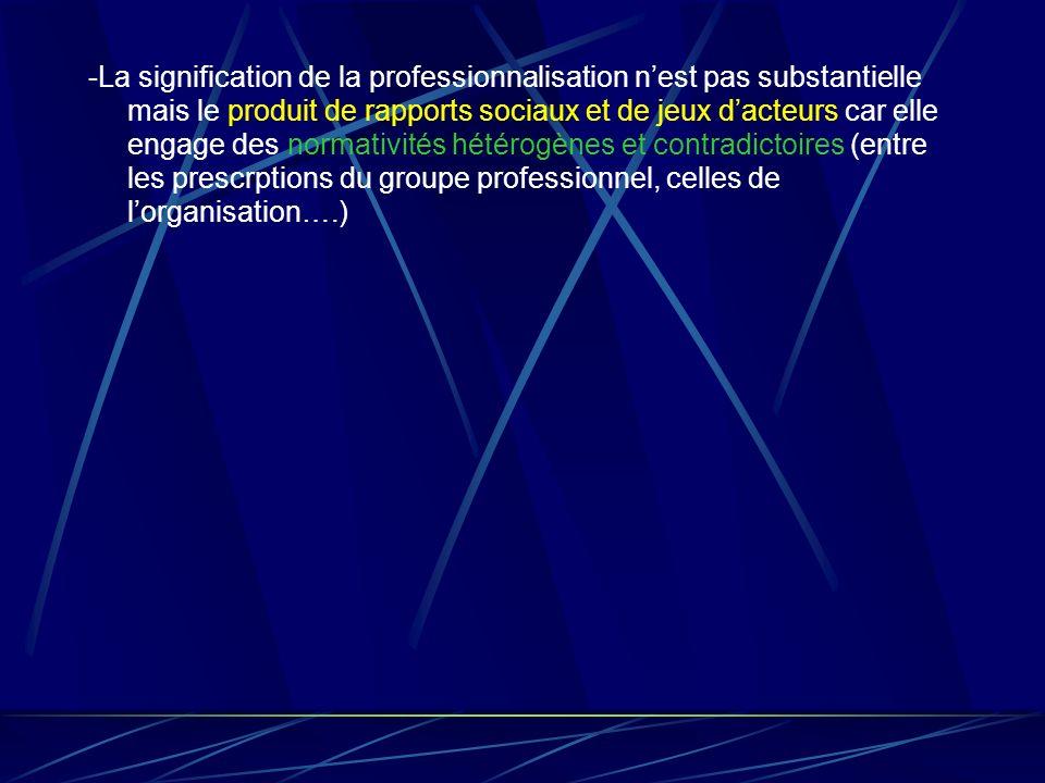 -La signification de la professionnalisation nest pas substantielle mais le produit de rapports sociaux et de jeux dacteurs car elle engage des normat