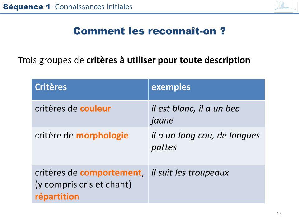 Séquence 1 - Connaissances initiales Trois groupes de critères à utiliser pour toute description Critèresexemples critères de couleuril est blanc, il