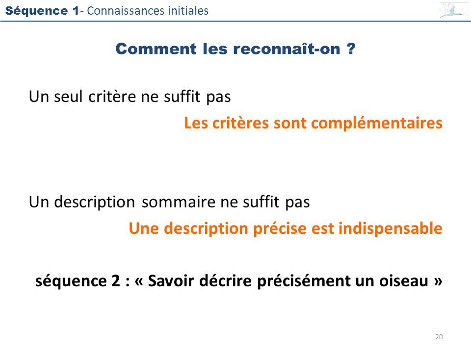Séquence 1 - Connaissances initiales Un seul critère ne suffit pas Les critères sont complémentaires Un description sommaire ne suffit pas Une descrip