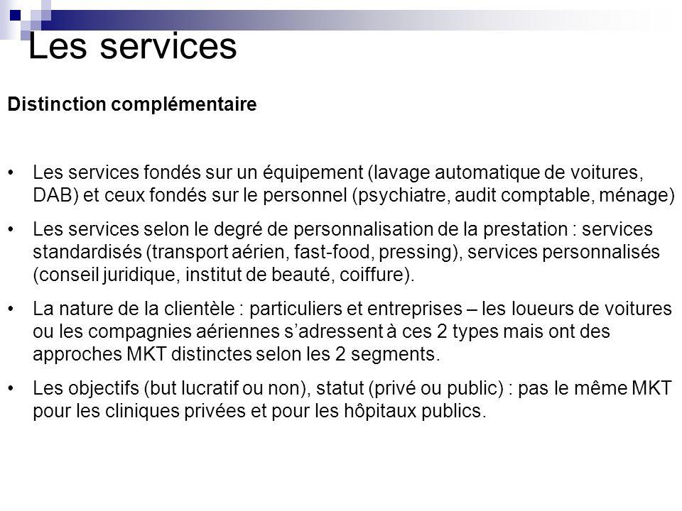 Les services Distinction complémentaire Les services fondés sur un équipement (lavage automatique de voitures, DAB) et ceux fondés sur le personnel (p