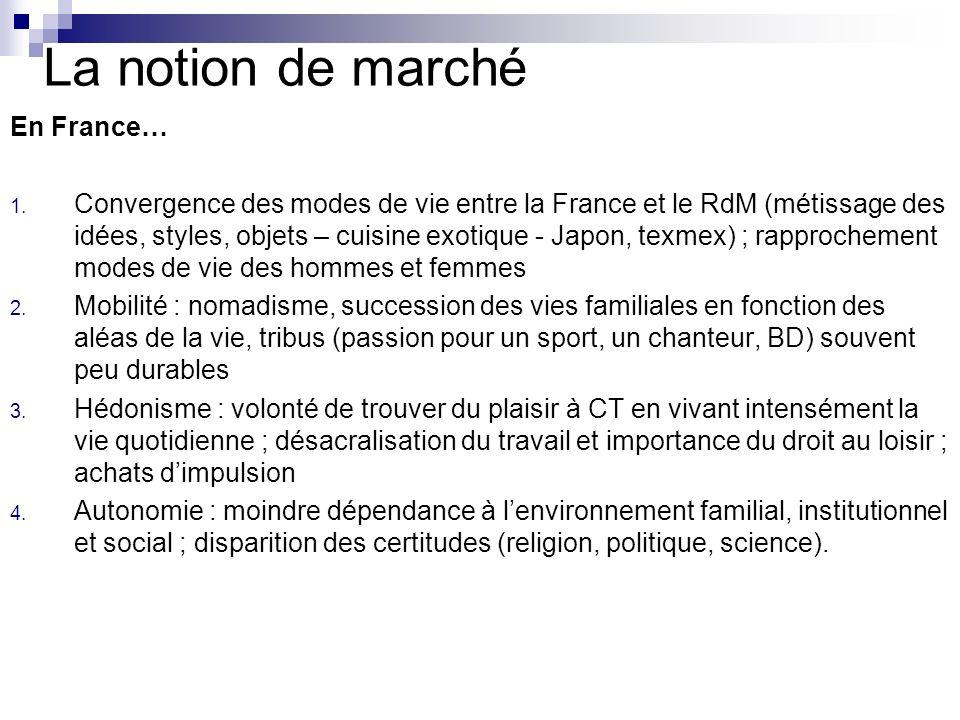 La notion de marché En France… 1. Convergence des modes de vie entre la France et le RdM (métissage des idées, styles, objets – cuisine exotique - Jap