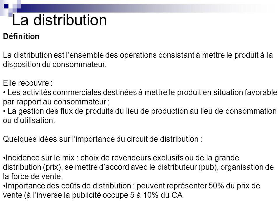 La distribution Définition La distribution est lensemble des opérations consistant à mettre le produit à la disposition du consommateur. Elle recouvre