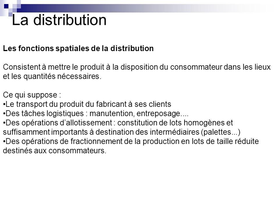 La distribution Les fonctions spatiales de la distribution Consistent à mettre le produit à la disposition du consommateur dans les lieux et les quant