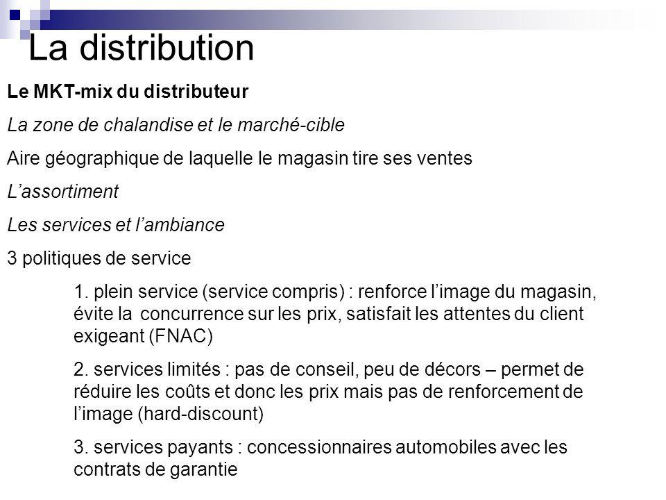 La distribution Le MKT-mix du distributeur La zone de chalandise et le marché-cible Aire géographique de laquelle le magasin tire ses ventes Lassortim