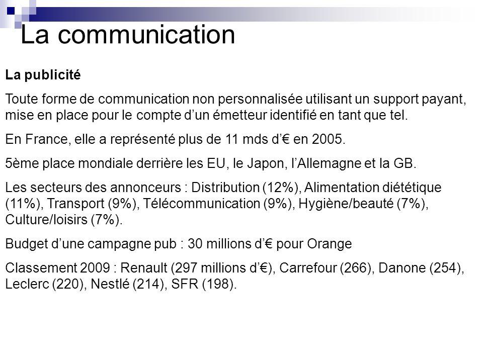 La communication La publicité Toute forme de communication non personnalisée utilisant un support payant, mise en place pour le compte dun émetteur id