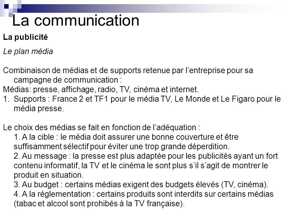 La communication La publicité Le plan média Combinaison de médias et de supports retenue par lentreprise pour sa campagne de communication : Médias: p