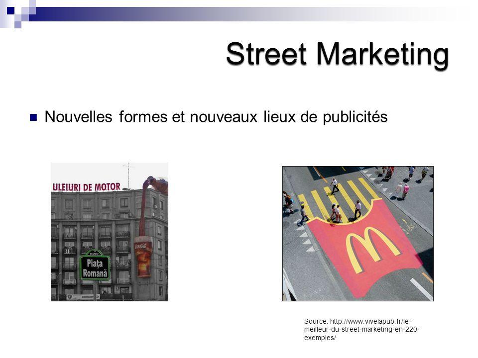 Nouvelles formes et nouveaux lieux de publicités Source: http://www.vivelapub.fr/le- meilleur-du-street-marketing-en-220- exemples/