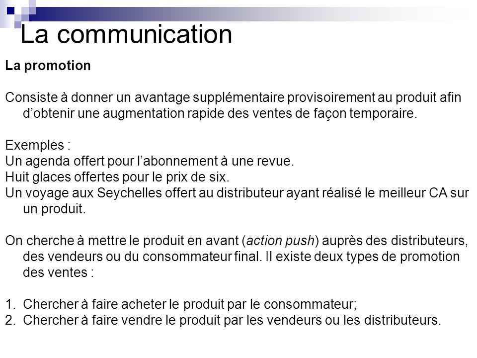 La communication La promotion Consiste à donner un avantage supplémentaire provisoirement au produit afin dobtenir une augmentation rapide des ventes