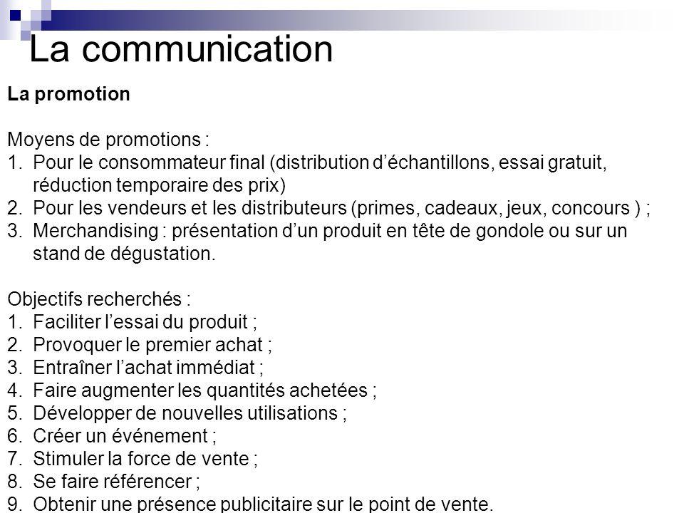 La communication La promotion Moyens de promotions : 1.Pour le consommateur final (distribution déchantillons, essai gratuit, réduction temporaire des