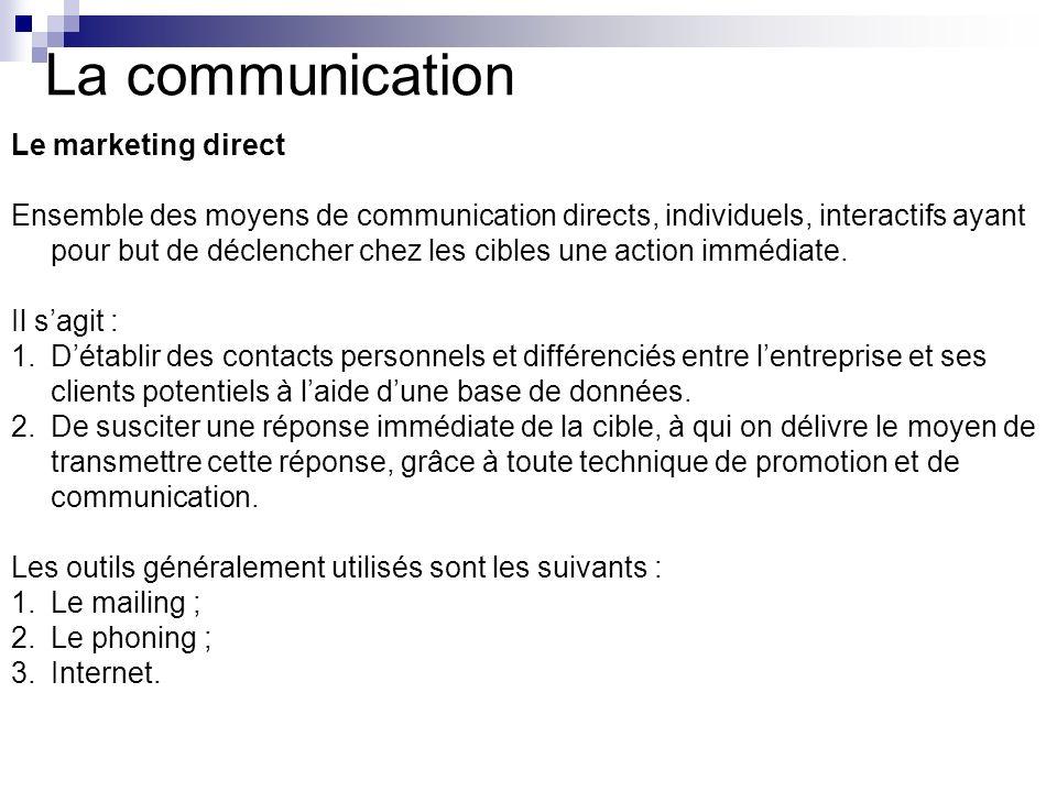 La communication Le marketing direct Ensemble des moyens de communication directs, individuels, interactifs ayant pour but de déclencher chez les cibl